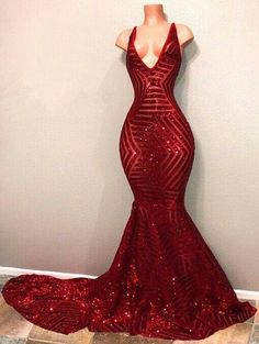 Shiny V-Neck Mermaid Red Long Sequins Prom Dresses Cute Prom Dresses 0c3fbd287
