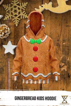 Grab this Gingerbread Kids Hoodie today! Limited time only! Gingerbread Cookies, Kids Outfits, Kids Fashion, Hoodies, Collection, Gingerbread Cupcakes, Sweatshirts, Parka, Junior Fashion
