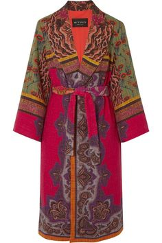 Etro Belted Cotton-blend Jacquard Coat In 0600 Kimono Fashion, Love Fashion, Bohemian Fashion, Knitted Coat Pattern, Silk Kimono, Kimono Jacket, Coat Patterns, Vintage Outfits, Vintage Clothing