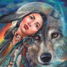 Native American Wolf with Girl | Native Americans