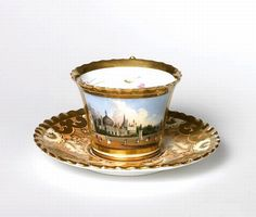 Chamberlain Worcester Gilded Tea Cup And Saucer, 19th Century