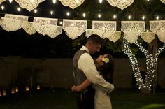 Lace wedding garlands with twinkle lights