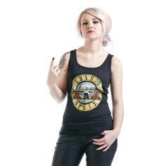 """#Top donna nero """"Distressed Bullet"""" dei Guns N' Roses con classico logo del gruppo stampato sul davanti."""