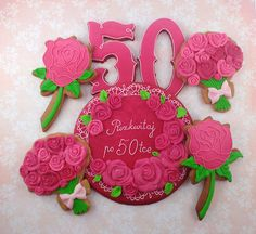 Set of 50-birthday cookies for woman. Bouquets, roses and greeting