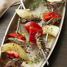 Sheesh Kabobs! Can substitute crickets for grasshoppers.