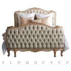 Eloquence Sophia Gold Fog Linen Two Tone Bed - Queen Duvet Bedding, Grey Bedding, Luxury Bedding, Modern Bedding, Comforter Sets, White Tufted Bed, French Provincial Bed, Boudoir, Fog Linen