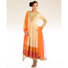 Cream Beige Kalidar Suit with Embroidered Yoke