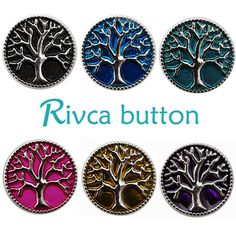 D00158 Wholesale 6pcslot Oil Painting Tree Of Life Metal Snap Button Bracelet For Women Rivca 18mm Charm Snap Button Jewelry #Affiliate