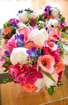 22 piece set tropical beach wedding silk flowers 1 bridal bouquet 3 sweet bridal bouquets of pink peonies pink mini calla lilies magenta freesia coral mightylinksfo