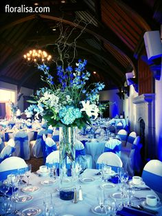 Gorgeous Blue Wedding Table Centerpieces By Flisa Serving The San Francisco Bay Area And