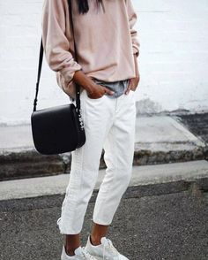 parisian street style - modern classic minimal in blush pin, white and grey marle. gorgeous french chic