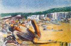 Taschenkunst 2017-32, watercolor on paper,  8,5 x 5,5 cm laminated, 2017.