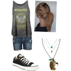 nirvana by jazzyboo-395 on Polyvore featuring polyvore, fashion, style, Prince Peter, Hydraulic, Converse and Feather and Skull