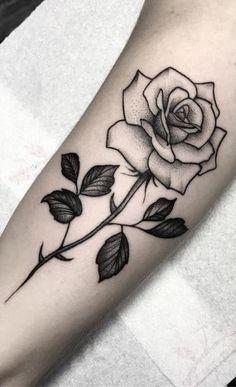 Single Rose Tattoos, Rose Tattoos For Women, Leg Tattoos Women, Black Rose Tattoos, Top Tattoos, Trendy Tattoos, Forearm Tattoos, Cute Tattoos, Beautiful Tattoos