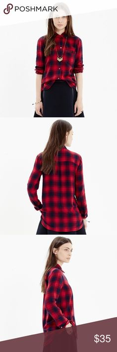 Madewell Flannel Ex-boyfriend Shirt PRODUCT DETAILS A timeless style in a cheerful plaid lined with a check print. Slightly oversized with ready-to-roll sleeves, this version is just right.  Color: Abilion Plaid. Like new. Item No. B0949 True to size. Cotton. Machine wash. Import. Madewell Tops Button Down Shirts