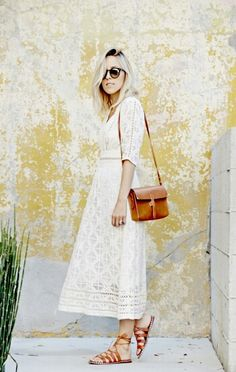 White dress / Leather bag