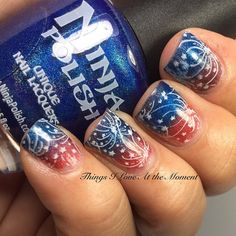 """Nail art by """"Things I Love at the Moment"""" using Ninja Polish """"Power"""" and """"Mind"""" from the Infinity Gems collection"""