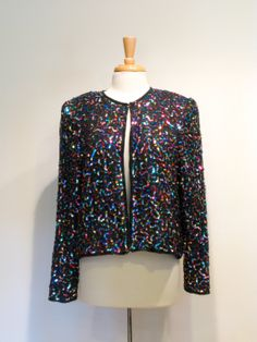 Vintage Black Silk & Multi Color Sequined Jacket by tobedetermined