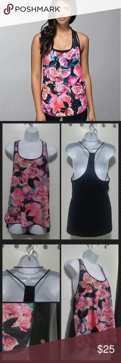 """Lululemon secret garden Coastal Tank Beautiful secret garden print Lululemon coastal tank  No rip tag so not sure of the size but looks like a medium I'm guessing 8 or so   See measurements  Excellent condition, no wear   18"""" across armpit to armpit and 27"""" long from top of the strap to back hem (which hangs lower than the front)  No trades lululemon athletica Tops Tank Tops"""