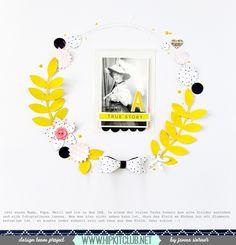 Paperflower Wreath on Scrapbooking Layout   Janna Werner   Instagram: jannawerner