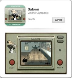 SaloonSaloon un gioco in stile LCD RetroGames (ca. 1980).  Lo scopo del gioco è prendere tutti i bicchieri di birra senza farli cadere dal tavolo!  - 2 livelli di gioco: - Game A: Livello facile - Game B: Livello difficile - Grafica LCD old Style - Interfaccia semplicissima