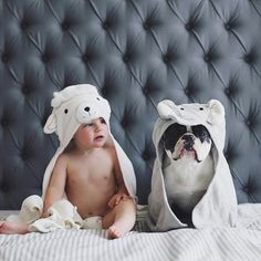 """""""Happy Monday!"""" ❤ Baby and French Bulldog in a Lamb and Elephant Hoodies, ❤"""
