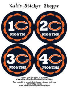 Chicago Bears Baby Monthly Onesie Bodysuit by KalisStickerShoppe, $10.00