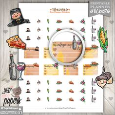 Thanksgiving Stickers Thanksgiving Planner Printable Planner Stickers Planner Stickers Kawaii Stickers Planner Accessories Cute DIY (1.50 USD) by YupiYeiPapers
