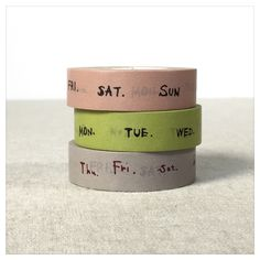 "This cute <a href=""https://www.etsy.com/listing/272950862/days-of-the-week-washi-tape-set-3pk"" target=""_blank"">day of the week washi tape</a> ($7) saves you some time while crafting your weekly log."