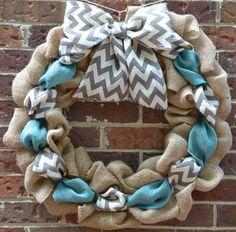 Chevron Burlap Wreath by KsSouthernCharm on Etsy