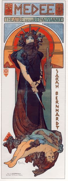"Alphonse Mucha: ""Medee""  for Sarah Bernhardt's Theatre de la Renaissance in Paris"