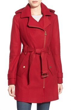 MICHAEL Michael Kors Belted Hooded Wool Blend Coat available at #Nordstrom