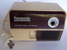 Vtg-Panasonic-Electric-Pencil-Sharpener-Auto-Stop-Model-XP110-Retro-Japan-Tan
