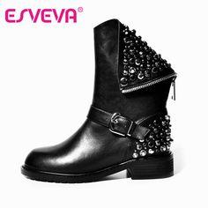 ESVEVA Punk Rivets Shoes Woman PU + Real Leather Autumn Boots Square Heels Winter Ankle Boots Zipper Martin Short Snow Boots