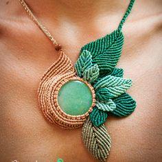 "#ShareIG Колье ""Сказки феи"" в технике макраме с жадеитом. Macrame necklace ""Fairytales"" with jade.                                                                                                                                                      More"