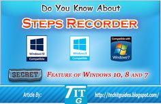 Steps Recorder the Awesome Windows Built in Feature. Computer Problems, Android Hacks, Windows 8, Step Guide, Did You Know, The Secret, Tech, Awesome, Tecnologia