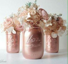 Maybe not mason jars, but spray painting some vases this color and adding different colored roses (based on the palette)