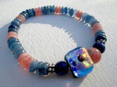 "Natural Kyanite Rhodochrosite Lapis Handmade Fused Art Glass Stretch Bracelet 7"" #EWArtistry #Beaded"