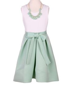 Loving this Mint Bow-Accent Hi-Low Dress & Necklace - Toddler & Girls on #zulily! #zulilyfinds