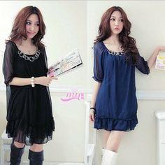 2014 summer women brief blue black chiffon loose swag Half sleeve dress metal designs fat ladies plus size Dresses 3xl 4xl