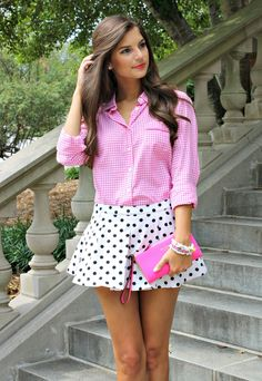 Print Mixing. I'm loving these polka dot shorts paired with a pink gingham blouse.