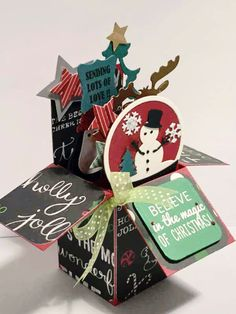 Believe In The Magic Of Christmas Card In A Box - Handmade Christmas Card - Holiday Card - Card For Christmas - Greeting Card - Pop Up Card by CARDSBYMOM on Etsy