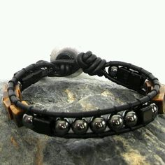 8mm hematite beads with leather cords
