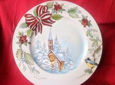 Paesaggio natalizio a olio molle e pennino
