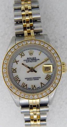 Rolex Ladies Datejust Two Tone White MOP Roman Dial / Pave Bezel #Rolex #Dress