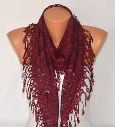 Burgundy lace scarf winter scarf gift for her birthday by bstyle, $22.00