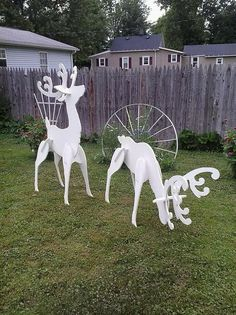Outdoor White Reindeer Display These Elegant White Reindeer In Your Yard This Christmas. they also look great when you add my Santas Sleigh Handmade Wood Yard Art Display Reindeer Head Up-55 Tall Reindeer Head Down-29 Tall All of my pieces are made from 1/2 inch high quality plywood and painted with acrylic craft paint. Please note, my yard displays may vary from pictures, they are hand-made no two items will be exactly the same so there may be slight variances in color Each piece is han...
