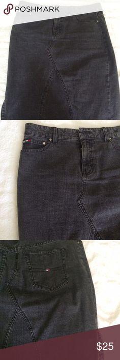 Black jean skirt. Tommy Hilfiger black classic jean skirt. Tommy Hilfiger Skirts