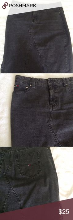 Black jean skirt. Tommy Hilfiger black classic jean skirt. Tommy Hilfiger Skirts