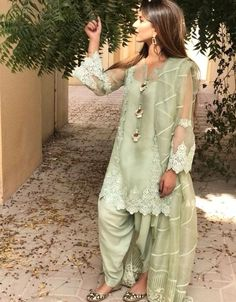 One of our hot sellers in mint green. Simple Pakistani Dresses, Pakistani Bridal Dresses, Pakistani Dress Design, Pakistani Outfits, Indian Outfits, Pakistani Clothing, Emo Outfits, Fancy Dress Design, Stylish Dress Designs